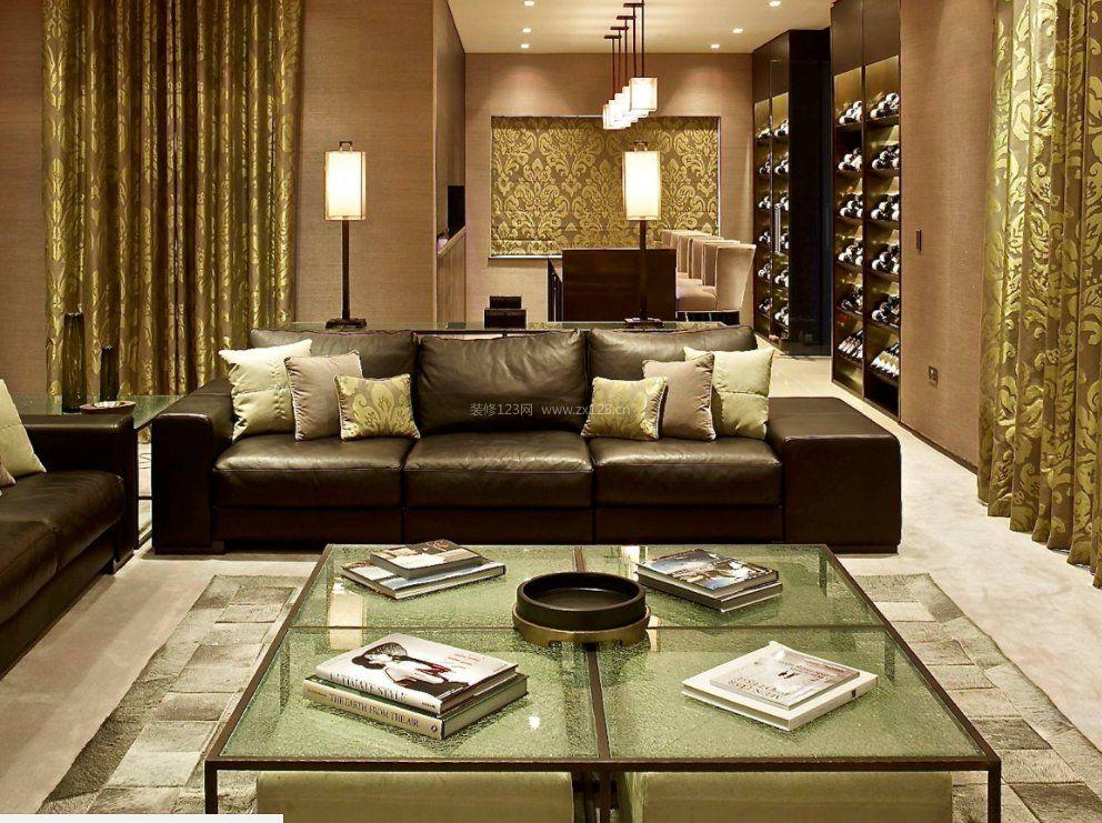2020客厅真皮沙发靠垫搭配效果图