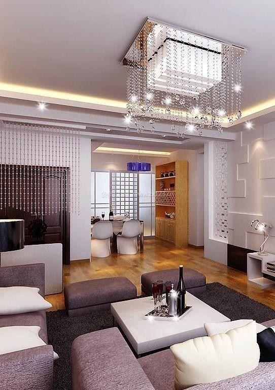 2020客厅案例:方形水晶吊灯