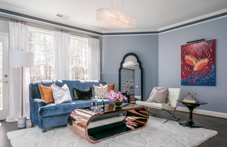 2020年轻奢风格客厅蓝色沙发大赏