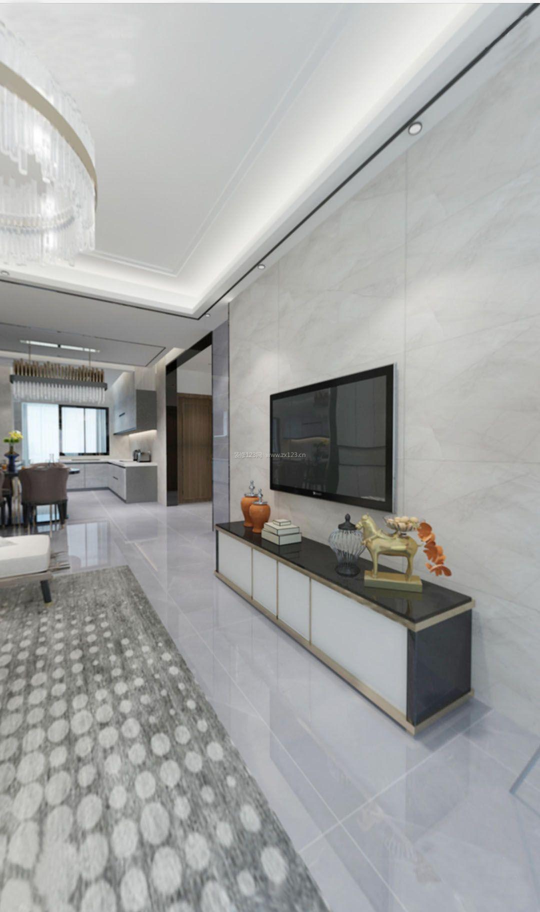 淡雅现代简约客厅大方块瓷砖电视背景墙欣赏