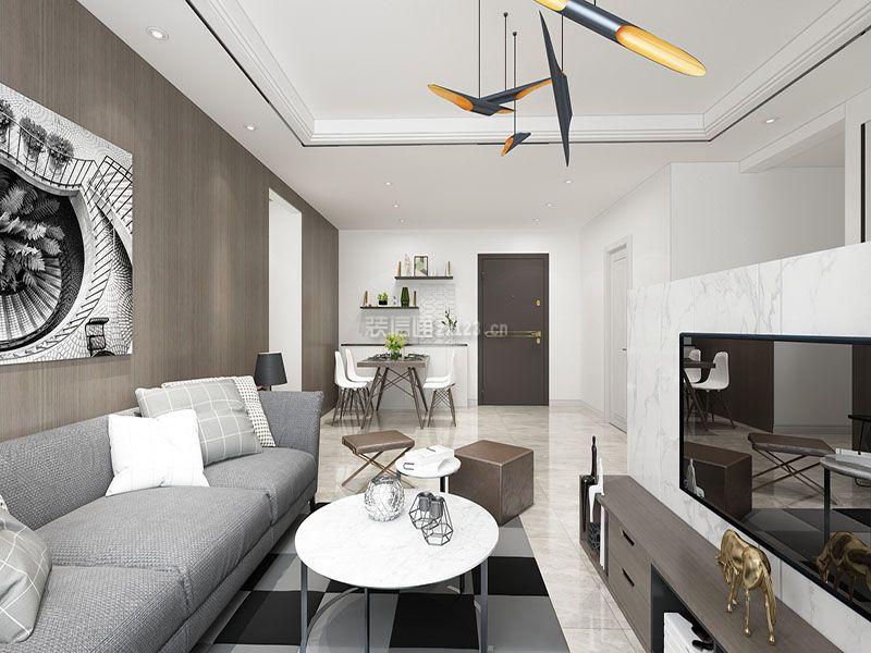 现代风格小户型客厅电视墙半墙图片