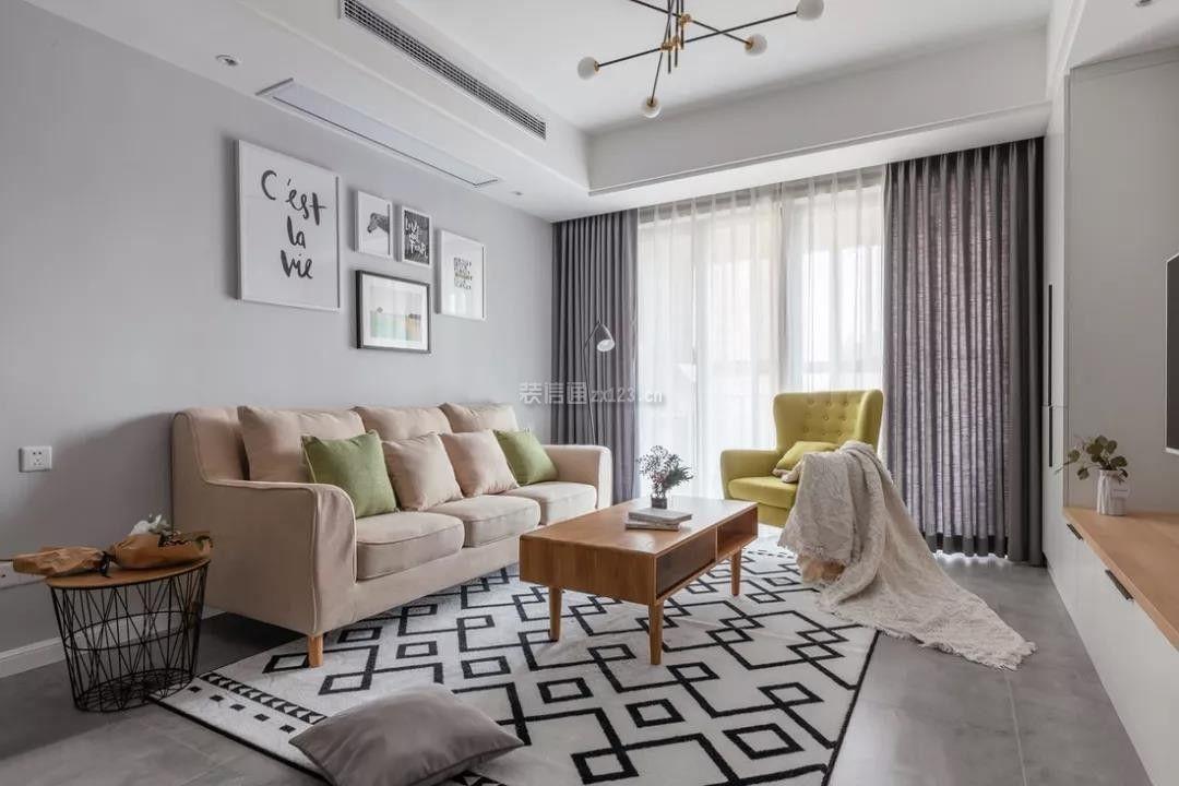 北欧风格90平米两居室客厅效果图欣赏