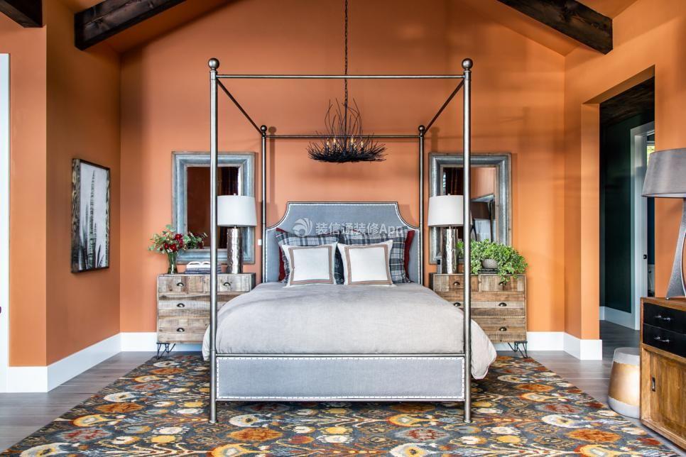 2020温馨家庭卧室橘色墙漆图片大全