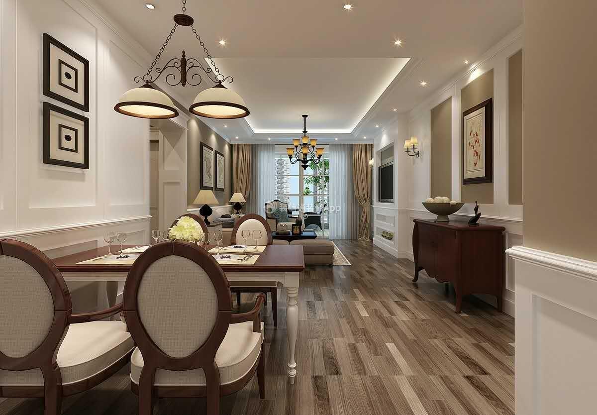 美式风格137平米家装三居餐厅吊顶设计图