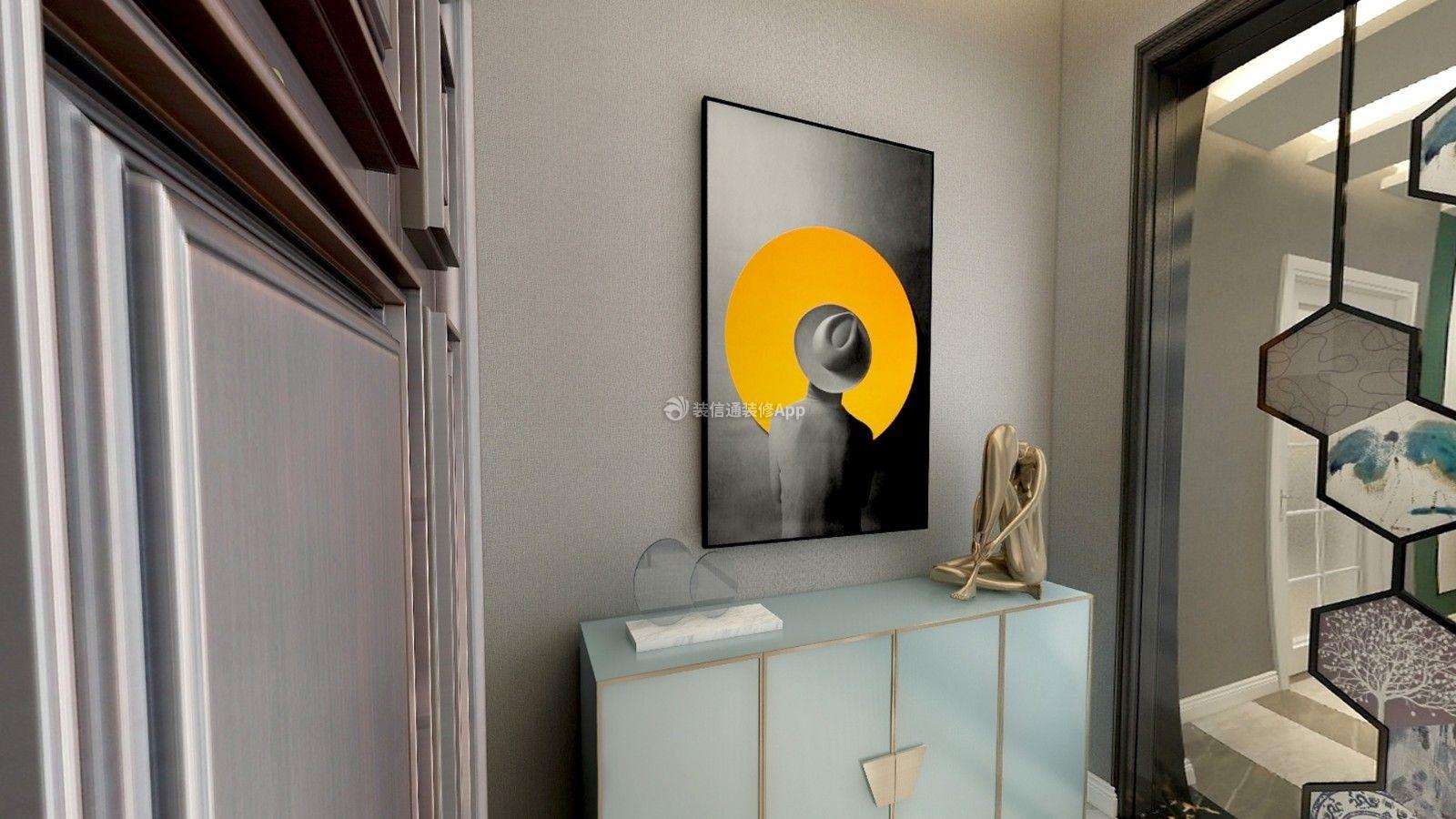 富贵家园180平现代轻奢风格玄关柜设计效果图欣赏