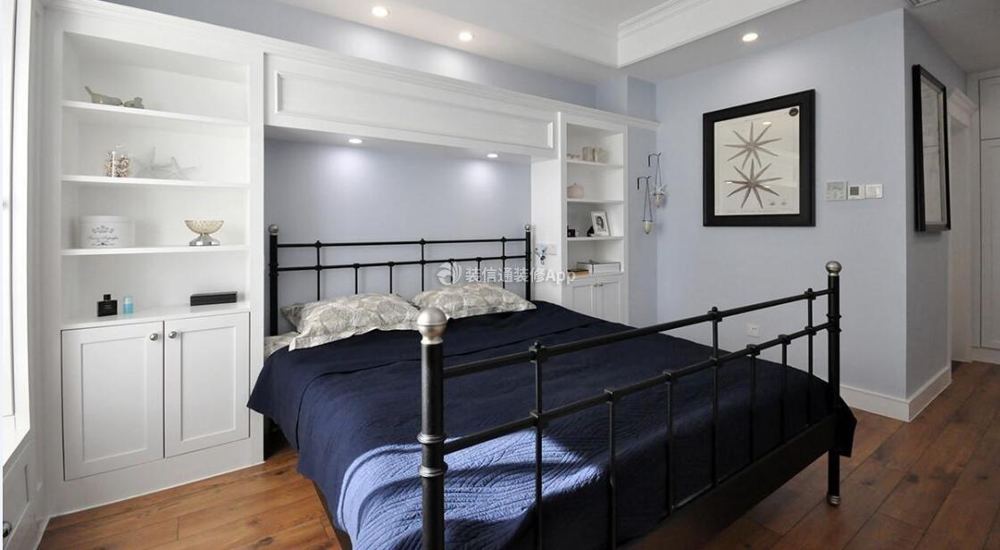 85平米三居现代美式卧室床头效果图欣赏