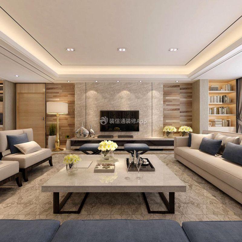 简欧风格122平米三居室客厅沙发效果图