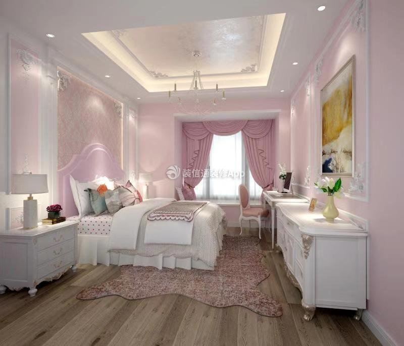 四居261平欧式风格粉色少女心卧室窗帘效果欣赏