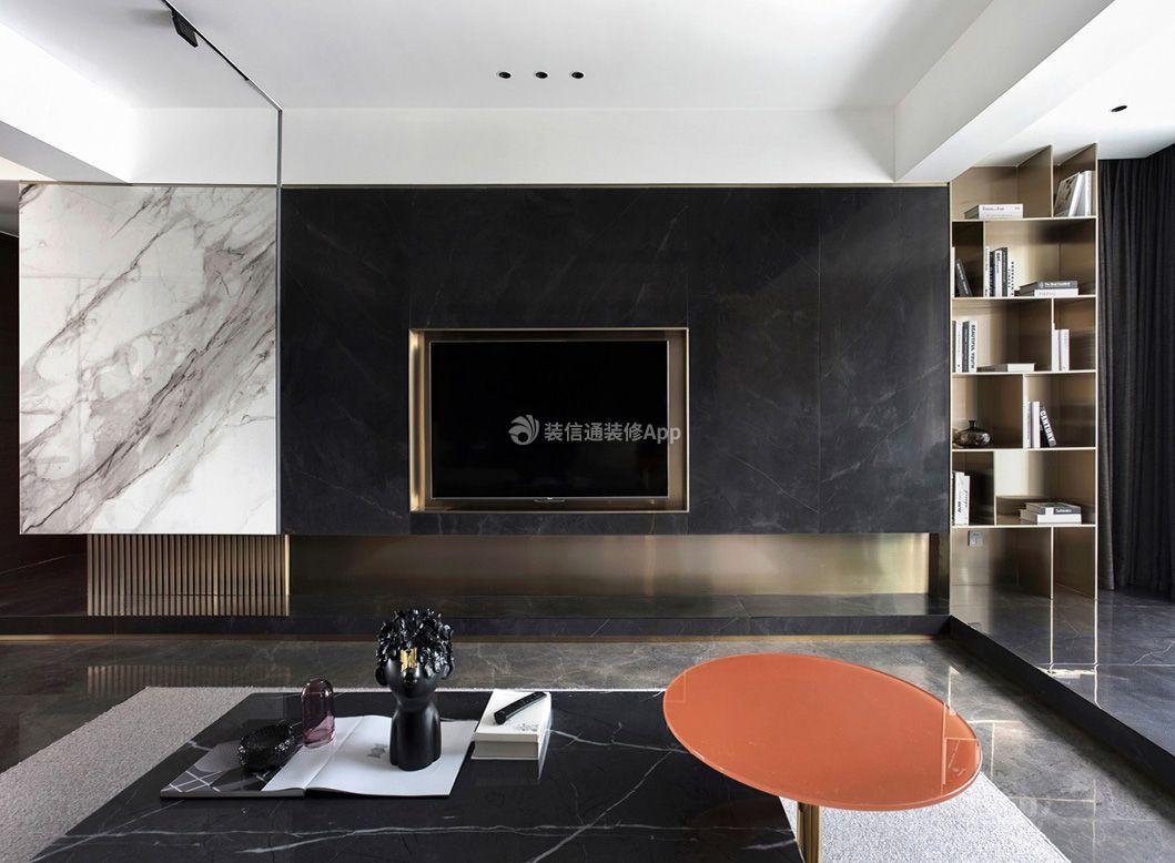 成都现代简约房子客厅电视墙设计图片