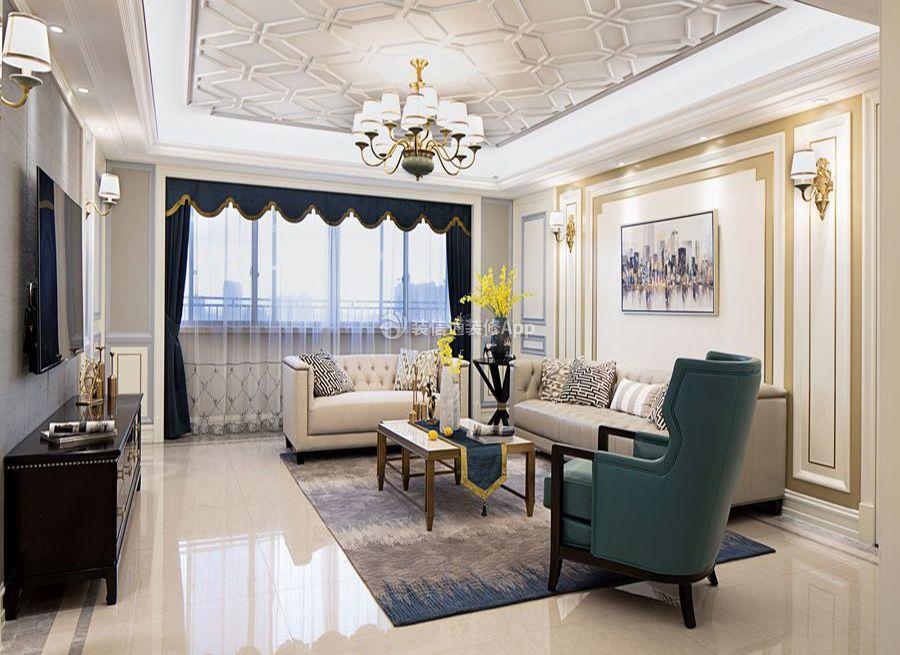现代美式客厅石膏吊顶装修效果图来了